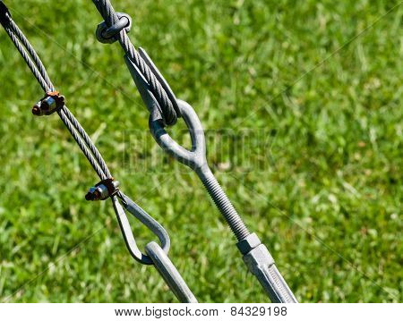 Pair Of Tightened Metal Loops And Cables