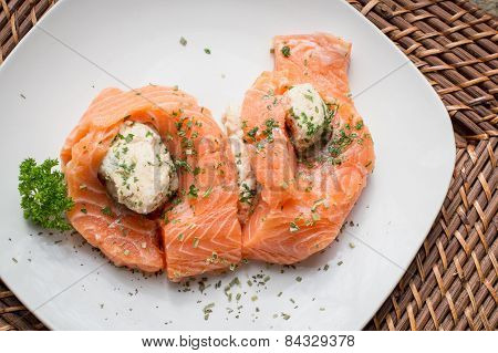 Salmon With Crab Stuffing