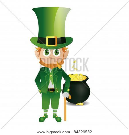 an isolated irish elf with traditional clothes for patrick's day