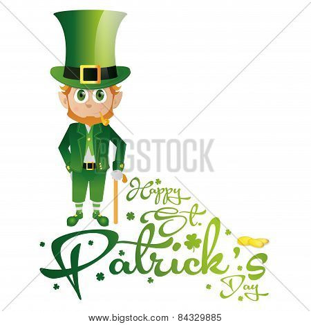 an isolated irish elf with traditional clothes and text for patrick's day