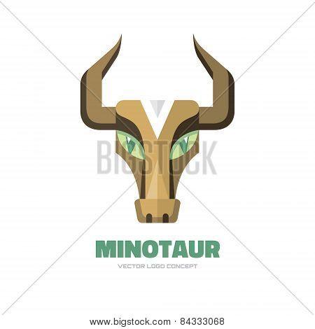 Minotaur - vector logo concept illustration. Buffalo head logo. Bull head logo. Taurus head logo.