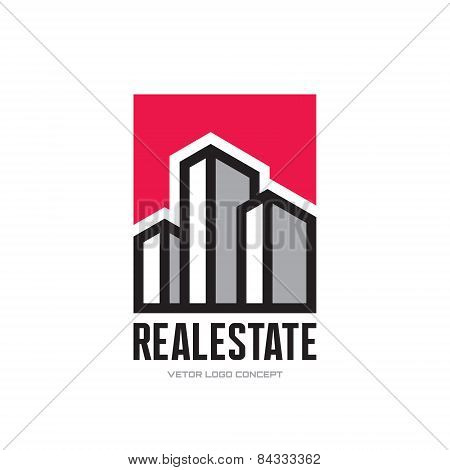 Real Estate - vector logo concept design. Modern buildings vector illustration. Vector logo template
