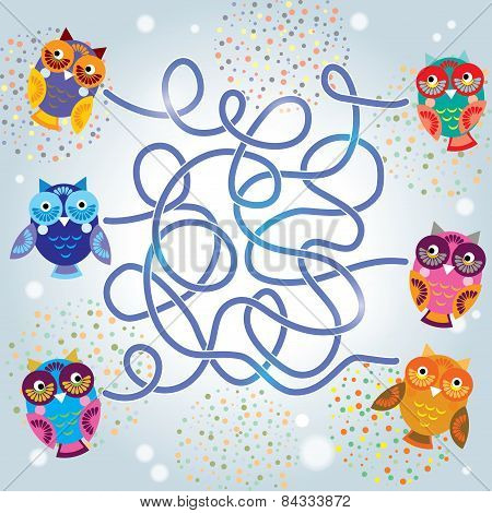 Funny Owls Labyrinth Game For Preschool Children. Vector