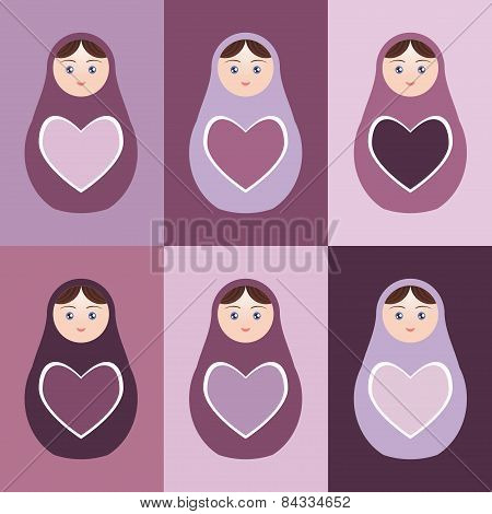 Seamless Pattern Russian Dolls Matryoshka With Hearts On Purple Background. Vector