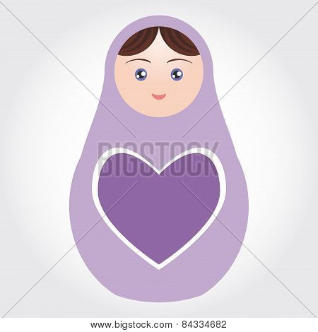 Purple Russian Dolls Matryoshka With Heart On White Background. Vector