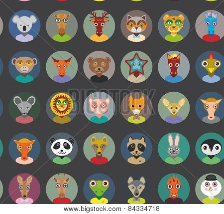 Seamless Pattern Animals Faces Circle Icons Set In Trendy Flat Style. Zoo Infographics Design. Vecto