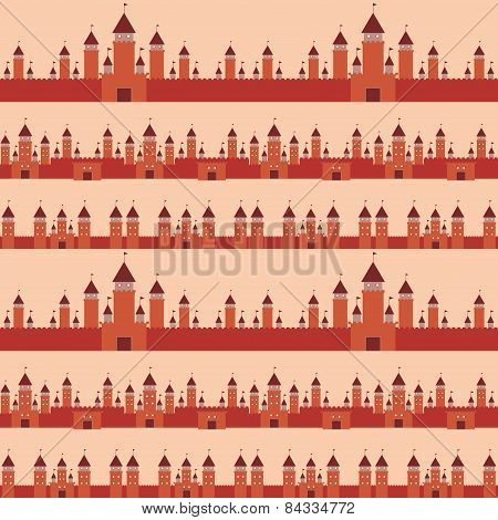 Seamless Pattern  With Castle Princess Fairytale Landscape. Vector