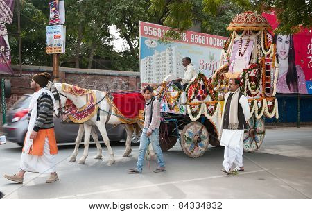 Ritual Procession On The Street In Vrindavan