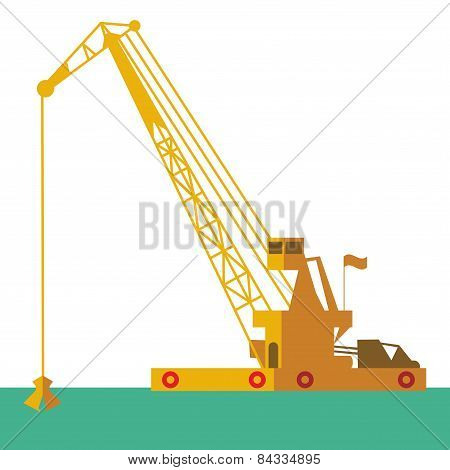 Huge Crane Barge Industrial Ship That Digs Sand Marine Dredging Digging Sea Bottom. Vector