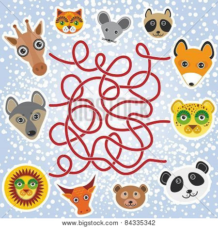 Funny Animals - Labyrinth Game For Preschool Children. Vector