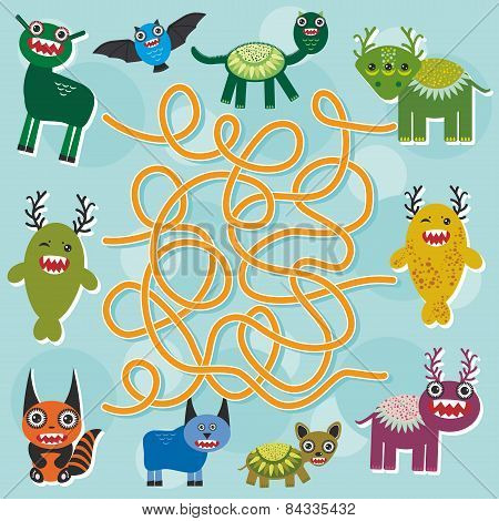 Cute Cartoon Monster Labyrinth Game For Preschool Children. Vector