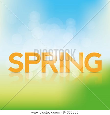 a colored background with text and its reflection for spring season