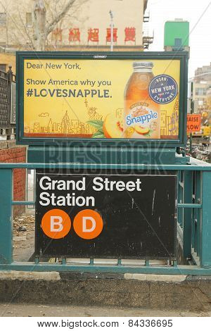 Grand Street Subway Station entrance in Chinatown