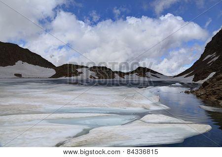 High Mountain Lake In Summer