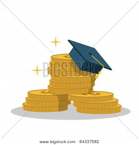 Isolated cartoon gold coin and expensive education