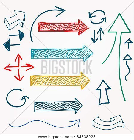 Arrow Color Sketchy Design Elements Set Vector Illustration