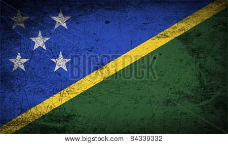 Flag Of Solomon Islands With Old Texture. Vector