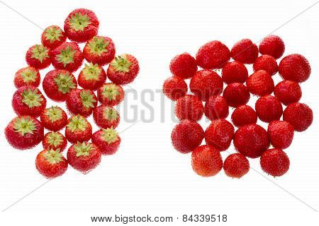 Strawberries Arranged In Two Groups Over White.