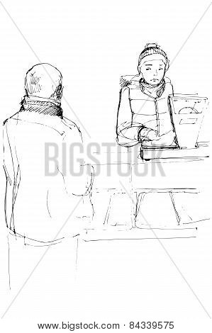 Sketch Of The Buyer And Seller In The Market Near The Balance