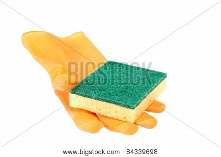Scouring Sponge On Rubber Glove