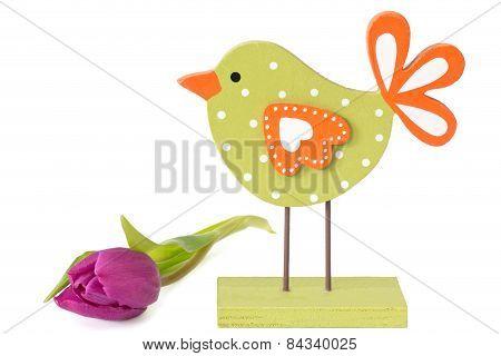 Wooden Bird With Tulip