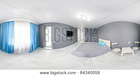Interior of bedroom. Modern minimalism style bedroom interior in monochrome tones