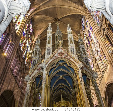 interiors and details of basilica of saint denis,  France