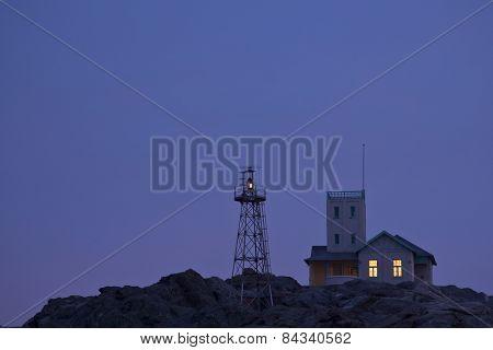 Luderitz Light house as dusk sets in.