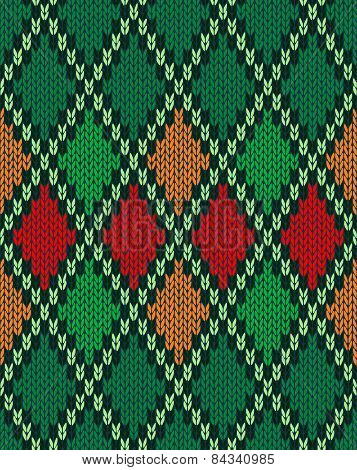 Seamless Christmas Knitted Pattern. Style Knit Woolen Jacquard O