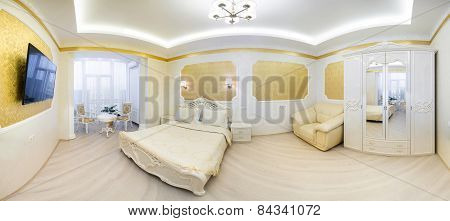 Luxurious bed with cushion in royal bedroom interior