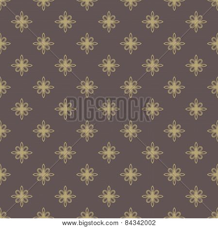 Floral Seamless  Pattern. Orient Golden Abstract Background