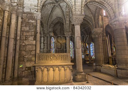 interiors and details of basilica of saint-denis,  France