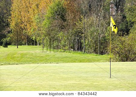 Golf flag on course