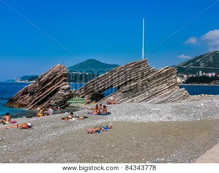 View On Beach In Rafailovici, Montenegro