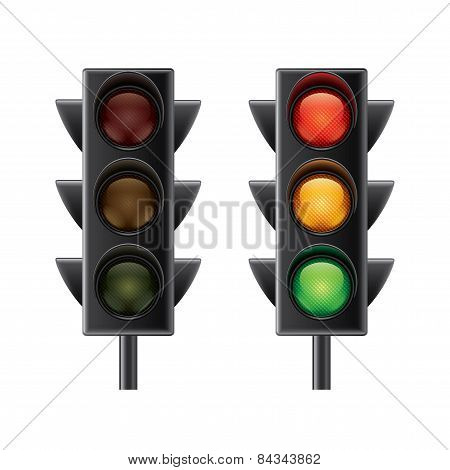 Traffic Lights Isolated On White Vector