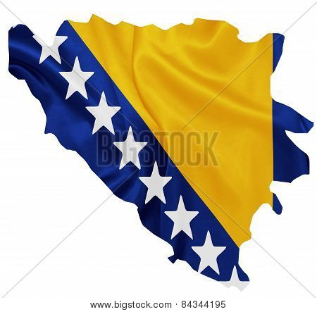 Bosnia and Herzegovina - Waving national flag on map contour with silk texture