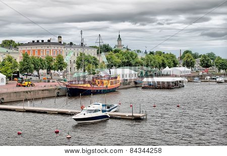 Pori. Finland. Embankment of Kokemaenjoki River
