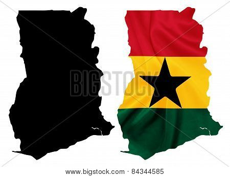 Ghana - Waving national flag on map contour with silk texture