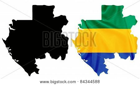 Gabon - Waving national flag on map contour with silk texture
