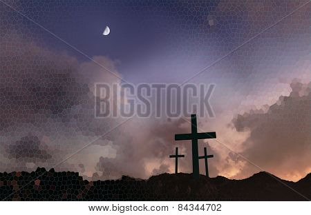 Crosses At Sunset