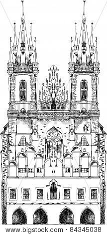 Prague cathedral, sketch collection