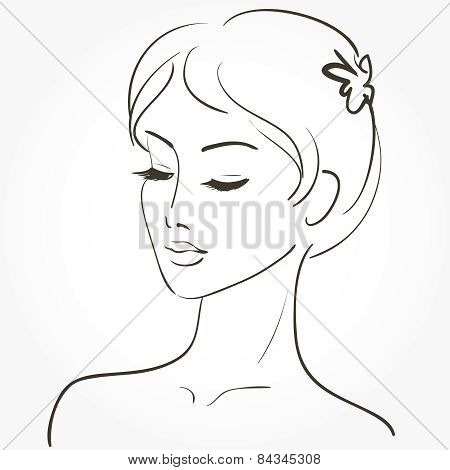 Beautiful Young Woman Sketch
