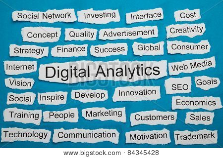 Word Digital Analytics On Piece Of Torn Paper