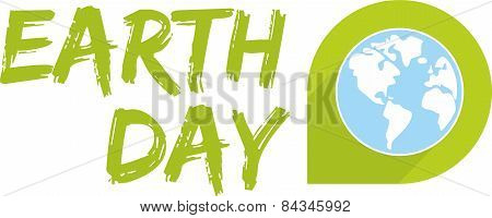 Earth day vector icon with green planet
