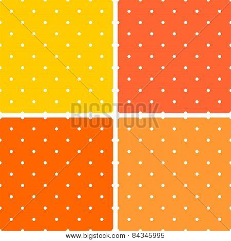 Tile vector pattern set with white polka dots on yellow and orange background