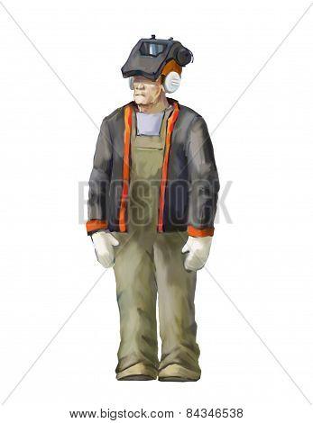 Welding worker illustration