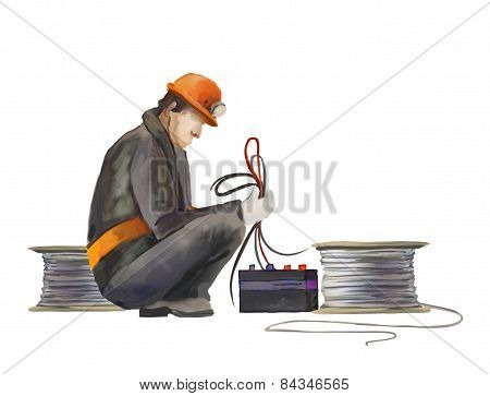 Electrician worker on construction works illustrationElectrician worker on construction works illust