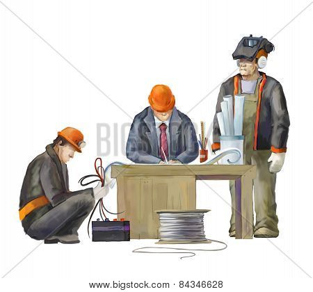 Welder, electrician and architect. Builders working on construction works illustration