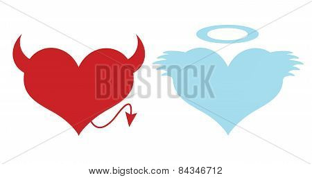 Red and blue hearts. Concept of love