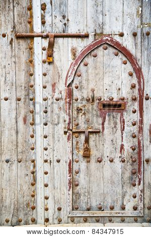 Antique Door In Morocco Africa Rusty Brown